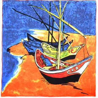 Хустка шовкова 87х88 см Човни в Сент-Марі (ван Гог)