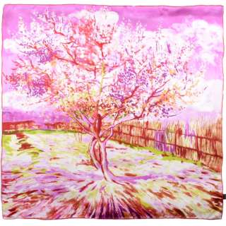 Хустка шовкова 88х88 см Персикова квітка в рожевих тонах (ван Гог)