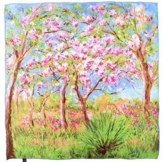 Платок шелковый 86х88 см Весна в Живерни (Клод Моне)