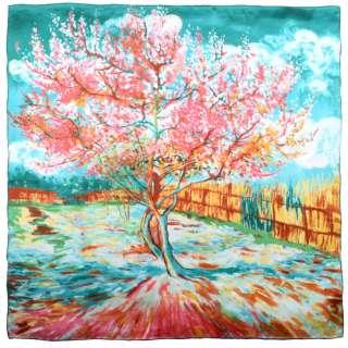Платок шелковый 86х87 см Персиковый цвет в бирюзовых тонах (ван Гог)