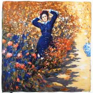 Хустка шовкова 86х87 см Дама в синьому