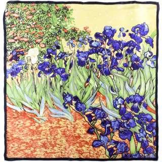 Хустка шовкова 85х86 см Іриси (ван Гог)
