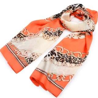 Платок-шарф шелковый с золотой печатью 53х174 см цепи, леопардовый принт, оранжевый