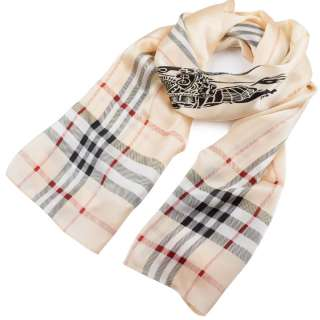 Платок-шарф шелковый с золотой печатью 54х174 см в клетку, античный всадник, кремовый