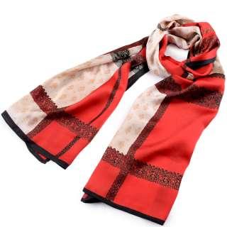 Платок-шарф шелковый с золотой печатью 54х174 см в клетку, принт кружево, бежево-красный