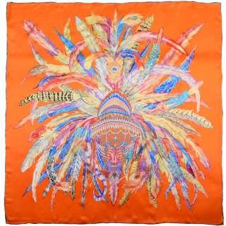 Хустка шовкова із золотою печаткою 105х107 см різнокольорові пір'я, помаранчевий