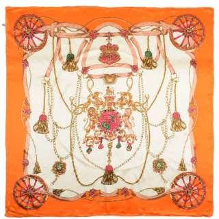 Хустка шовкова із золотою печаткою 105х107 см лев і єдиноріг, Койма помаранчева, молочний