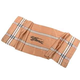 Платок-шарф шелковый с золотой печатью 51х173 см в клетку, античный всадник, бежевый