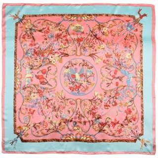 Хустка шовкова із золотою печаткою 104х105 см квіти, птахи, облямівка блакитна, рожевий