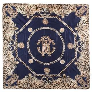 Хустка шовкова із золотою печаткою 106х107 см ланцюга, вензелі, леопардовий принт, синій