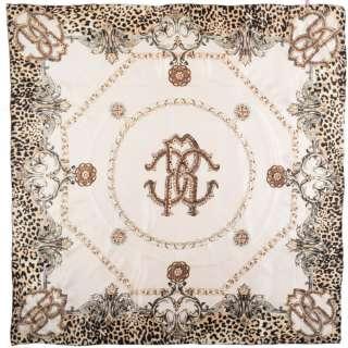 Платок шелковый с золотой печатью 106х109 см цепи, вензеля, леопардовый принт, молочный