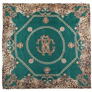 Платок шелковый с золотой печатью 107х104 см цепи, вензеля, леопардовый принт, зеленый
