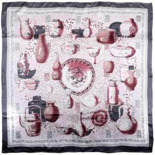 Хустка шовкова 106х106 см античні вази бордові, сірий світлий