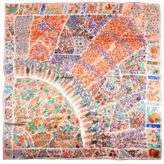 Платок шелковый 104х106 см цветочные узоры синие, оранжевые, персиковый