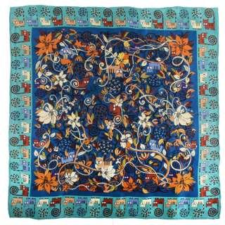 Хустка шовкова 85х85 см кольорові коти на гілках, блакитна облямівка, синій
