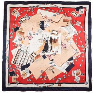 Хустка шовкова 106х107 см листівки, листи, намиста, червоний