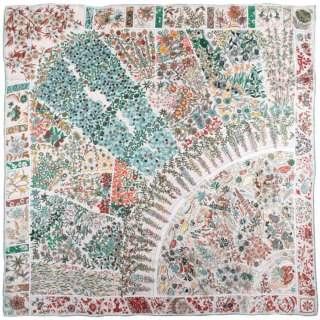 Платок шелковый 105х106 см цветочные узоры, бирюзовые, бежевые молочный