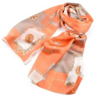 Платок-шарф 52х170 см вензеля, монеты, оранжево-бежевый