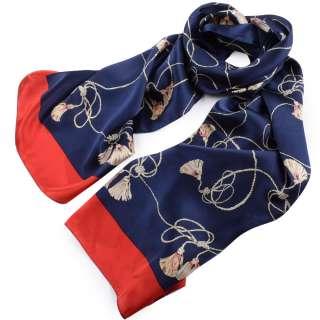 Платок-шарф 53х176 см шнуры с кистями, красная кайма, синий