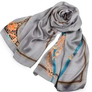 Платок-шарф шелковый 53х175 см принт буквы, голубой ремень, кисти, серый