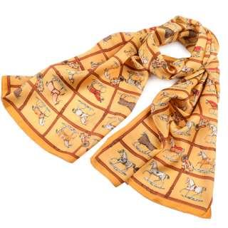Платок-шарф 53х170 см квадраты, кони, желтый