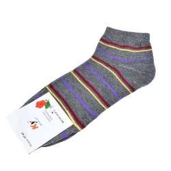 Носки серые темные в бордово-желтую полоску (1пара)