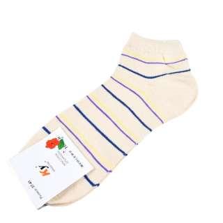 Носки бежевые светлые в желто-синюю полоску (1пара)