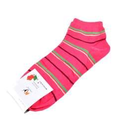 Носки розовые яркие в зелено-желтую полоску (1пара)