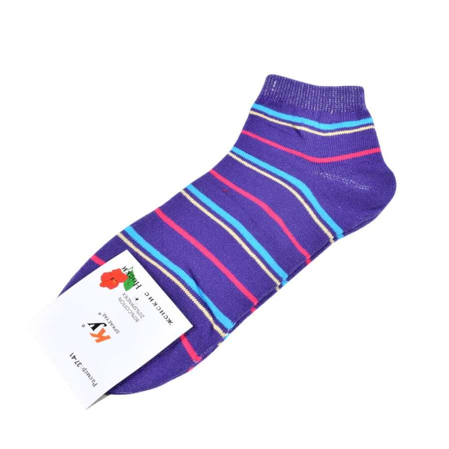 Шкарпетки фіолетові в бірюзово-малинову смужку (1пара)