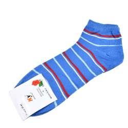 Носки голубые темные в красно-голубую полоску (1пара)
