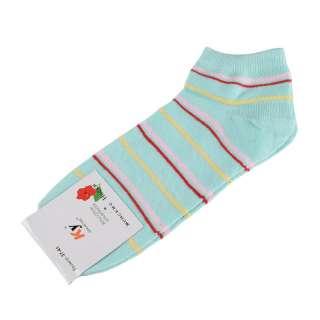 Носки бирюзовые светлые в красно-розовую + желтую полоску (1пара)