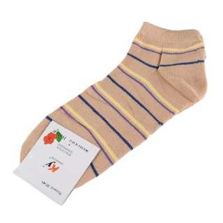 Носки бежевые в желто-фиолетовую + синюю полоску (1пара)