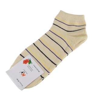 Носки бежевые светлые в желто-фиолетовую + черную полоску (1пара)