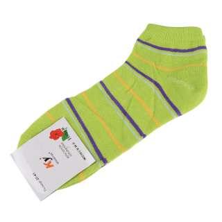 Носки салатовые в фиолетово-серую + желтую полоску (1пара)