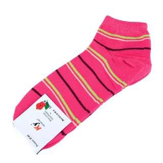 Носки малиновые в салатово-желтую + коричневую полоску (1пара)