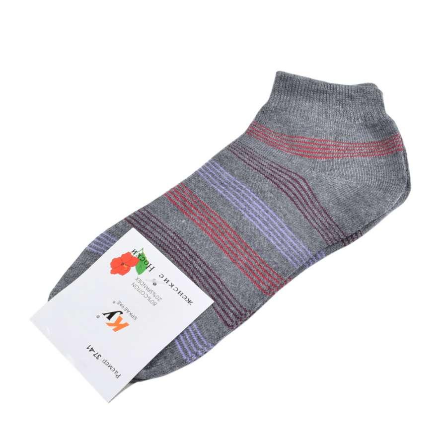 Носки серые в бордово-красную полоску (1пара)