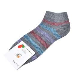 Носки серые в бирюзово-сиреневую полоску (1пара)