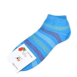 Носки голубо-бирюзовые в бело-красную полоску (1пара)