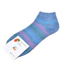 Носки серо-голубые в розово-зеленую полоску (1пара)