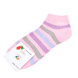 Носки розовые светлые в зелено-голубую полоску (1пара)