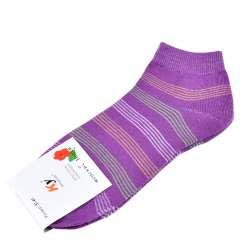 Носки фиолетовые в бело-салатовую полоску (1пара)