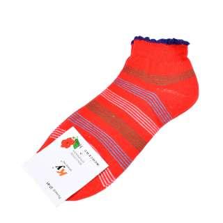 Носки красные в зелено-голубую полоску (1пара)