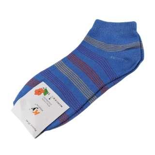Носки голубые темные в красно-желтую полоску (1пара)