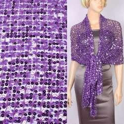 Шаль из кружева с пайетками 175х55см фиолетовая