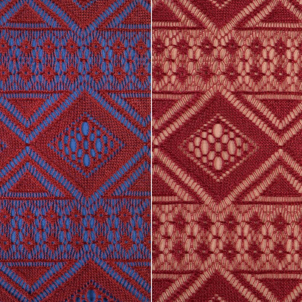 Мереживне полотно стрейч ромби і смуги вишневе dcf4b183af388